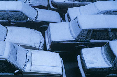 Photograph - Snowy Cars by Alfred Gescheidt