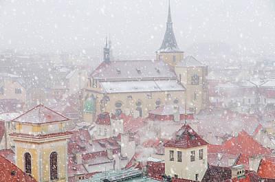 Photograph - Snowy Christmas Prague. Church Of St Giles by Jenny Rainbow