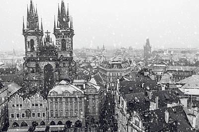 Photograph - Snowy Christmas Prague. Church Of The Virgin Mary Before Tyn 1 by Jenny Rainbow
