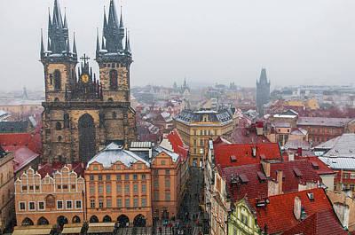 Photograph - Snowy Christmas Prague. Church Of The Virgin Mary Before Tyn by Jenny Rainbow