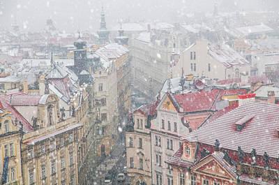 Photograph - Snowy Christmas Prague. Dlouha Street Buildings by Jenny Rainbow
