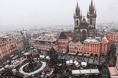 Photograph - Snowy Christmas Prague. Old Town Square Overview by Jenny Rainbow