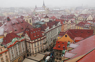 Photograph - Snowy Christmas Prague. Overview Of Old Town by Jenny Rainbow