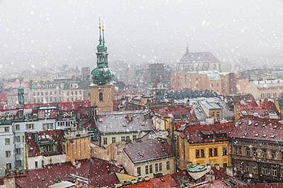 Photograph - Snowy Christmas Prague. Red Roofs And Towers by Jenny Rainbow