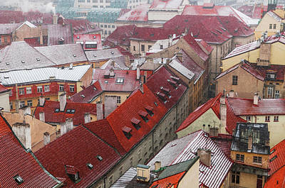 Photograph - Snowy Christmas Prague. Red Roofs In A Row by Jenny Rainbow