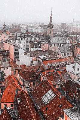 Photograph - Snowy Christmas Prague. Red Roofs by Jenny Rainbow