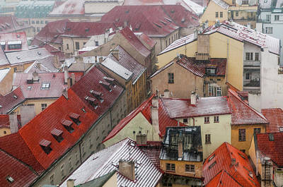 Photograph - Snowy Christmas Prague. Red Roofs Of Old Town by Jenny Rainbow