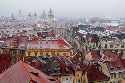 Photograph - Snowy Christmas Prague. Stare Mesto Red Roofs by Jenny Rainbow