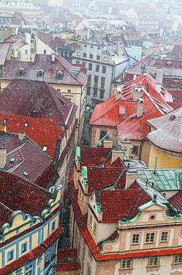 Photograph - Snowy Christmas Prague. Tiny Street Of Old Town by Jenny Rainbow