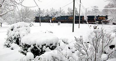 Belinda Landtroop Photos - Snowy Day Train by Belinda Landtroop