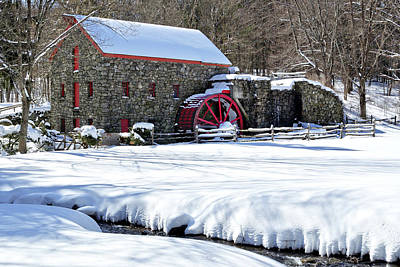 Photograph - Snowy Grist Mill by Luke Moore