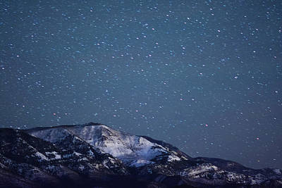 Snowy Mountain At Night Art Print by Harpazo hope