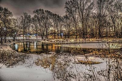 Photograph - Snowy Night On The Clinton River  V2 Dsc_0098 by Michael Thomas