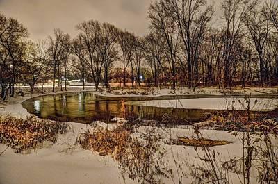 Digital Art - Snowy Night On The Clinton River V3 Dsc_0098 by Michael Thomas