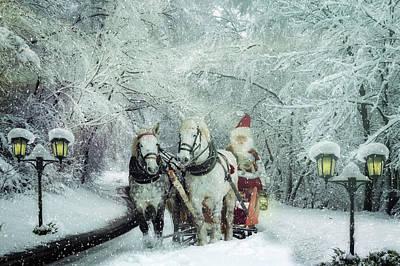 Digital Art - Snowy Old Saint Nick  by Debra and Dave Vanderlaan