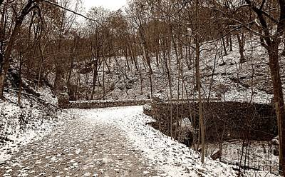 Photograph - Snowy Old Stone Bridge by Christopher Shellhammer