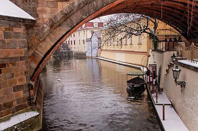 Photograph - Snowy Prague. Boat Wharf Under Bridge 1 by Jenny Rainbow