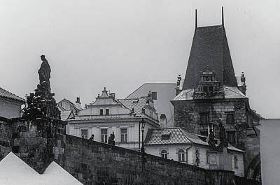 Photograph - Snowy Prague. Charles Bridge And Lesser Town Tower 1 by Jenny Rainbow