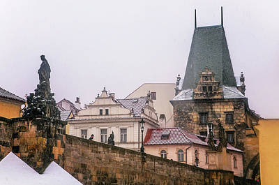 Photograph - Snowy Prague. Charles Bridge And Lesser Town Tower  by Jenny Rainbow