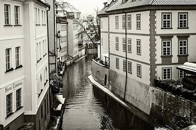 Photograph - Snowy Prague. Devil Stream Monochrome by Jenny Rainbow