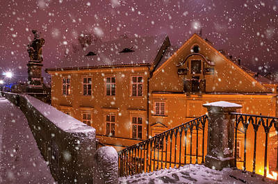 Photograph - Snowy Prague. House With St. Mary Painting by Jenny Rainbow
