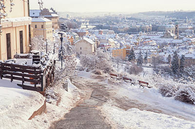 Photograph - Snowy Prague. Lesser Town Panorama by Jenny Rainbow
