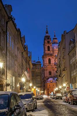 Photograph - Snowy Prague. Lesser Town Walk. Mostecka Street by Jenny Rainbow
