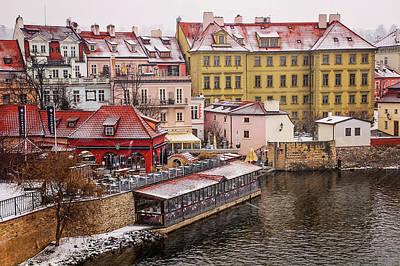 Photograph - Snowy Prague. Mala Strana By Vltava River by Jenny Rainbow