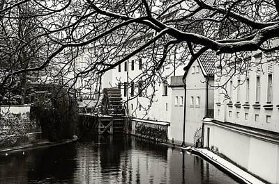 Photograph - Snowy Prague. Old Mill Na Kampe Monochrome by Jenny Rainbow