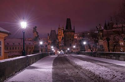 Photograph - Snowy Prague. Purple Night 1 by Jenny Rainbow