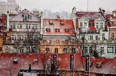 Photograph - Snowy Prague. Red Roofs by Jenny Rainbow