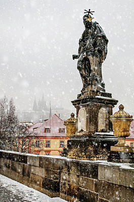 Photograph - Snowy Prague. St Anthony Of Padua On The Charles Bridge by Jenny Rainbow