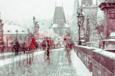 Photograph - Snowy Prague. Timeless Charles Bridge by Jenny Rainbow