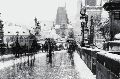Photograph - Snowy Prague. Timeless Charles Bridge Monochrome by Jenny Rainbow