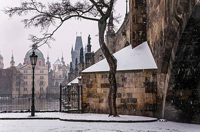 Photograph - Snowy Prague. Under Charles Bridge 1 by Jenny Rainbow