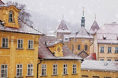 Photograph - Snowy Prague. Yellow Kampa Buildings by Jenny Rainbow