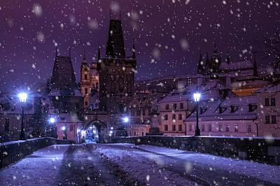 Photograph - Snowy Purple Night In Prague by Jenny Rainbow