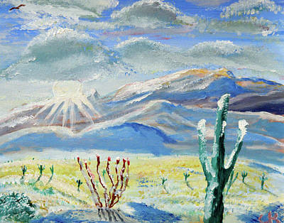 Rincon Mountains Wall Art - Painting - Snowy Rincons Sunrise by Chance Kafka