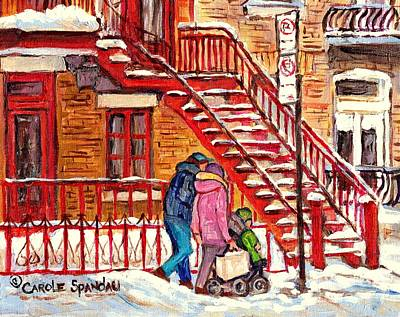 Painting - Snowy Staircase Montreal Winter Scene Painting Red Steps Strollers C Spandau Plateau To Verdun Art by Carole Spandau