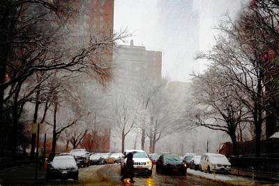 Photograph - Snowy Street Scene by Alison Frank