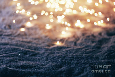 Photograph - Snowy Winter Background With Fairy Lights. by Michal Bednarek