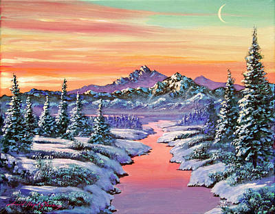 Painting - Snowy Winter River by David Lloyd Glover
