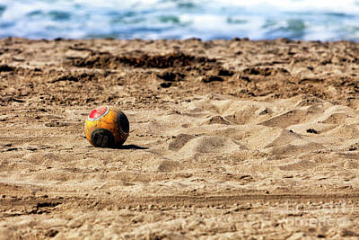 Photograph - Soccer Ball At Zuma Beach In Malibu by John Rizzuto