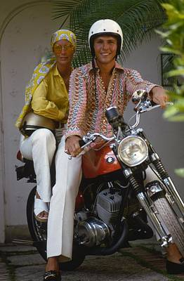 Sports Photograph - Socialite Bikers by Slim Aarons