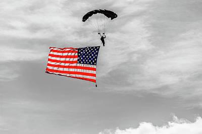 Art Print featuring the photograph Socom Flag Jump In Selective Color by Doug Camara
