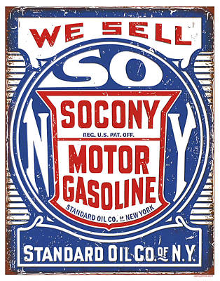 Digital Art - Socony Oil Sign by Greg Joens