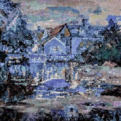 Painting - Soft Blue And Pink Landscape Mansion On The River Painting by Lisa Kaiser