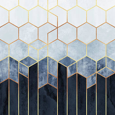 Abstract Digital Art - Soft Blue Hexagons by Elisabeth Fredriksson