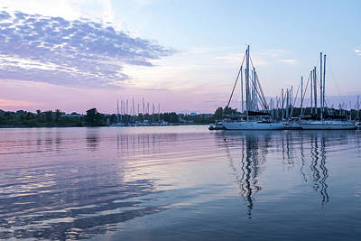 Photograph - Soft Lavender And Pink Ripples - Yachts And Clouds Reflections by Georgia Mizuleva