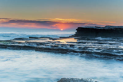 Photograph - Soft Pinks And Blues - Rock Ledge Sunrise Seascape by Merrillie Redden